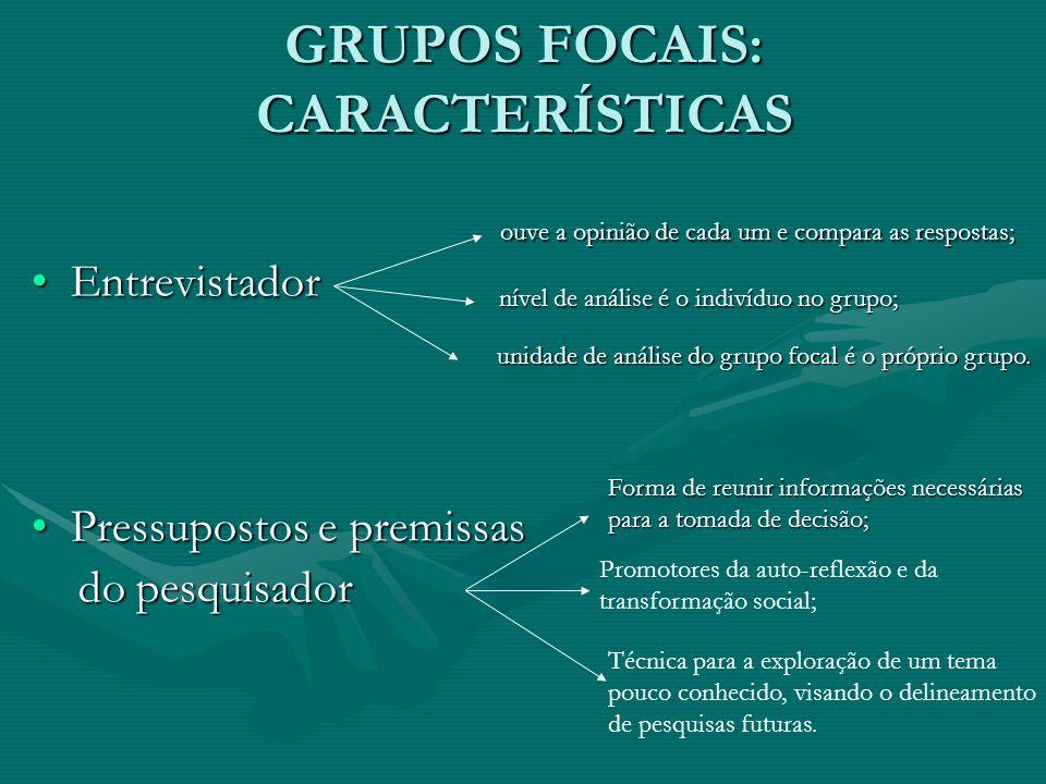 MODALIDADES DE GRUPOS FOCAIS EXPLORATÓRIOS Fern (2001) Centrados na produção de conteúdos; Orientação teórica voltada para a geração de hipóteses, para o desenvolvimento de modelos e teorias, enquanto que a prática tem como alvo a produção de novas ideias, a identificação das necessidades e expectativas e a descoberta de outros usos para um produto específico; Ênfase no plano intersubjetivo, ou seja, naquilo que permite identificar aspectos comuns do grupo alvo.