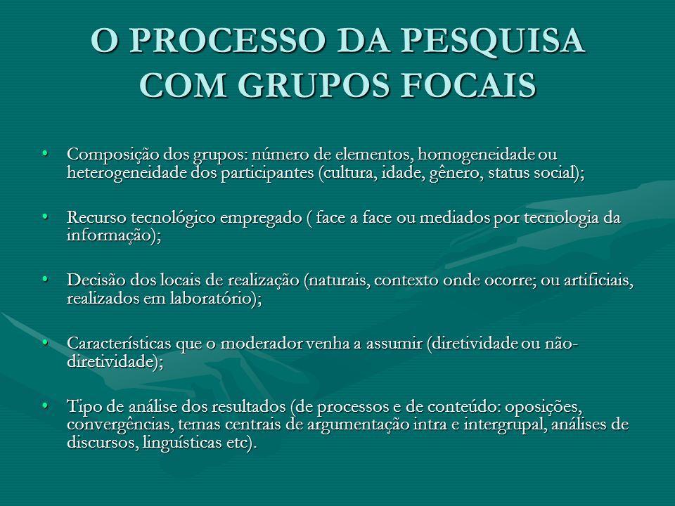 O PROCESSO DA PESQUISA COM GRUPOS FOCAIS Composição dos grupos: número de elementos, homogeneidade ou heterogeneidade dos participantes (cultura, idad