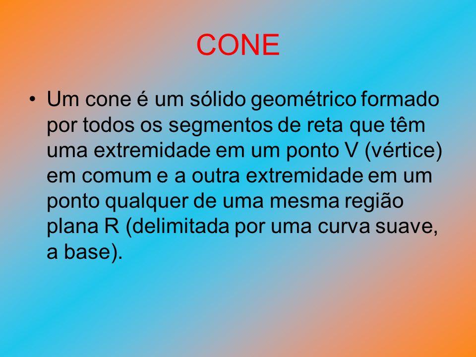 CONE Um cone é um sólido geométrico formado por todos os segmentos de reta que têm uma extremidade em um ponto V (vértice) em comum e a outra extremid