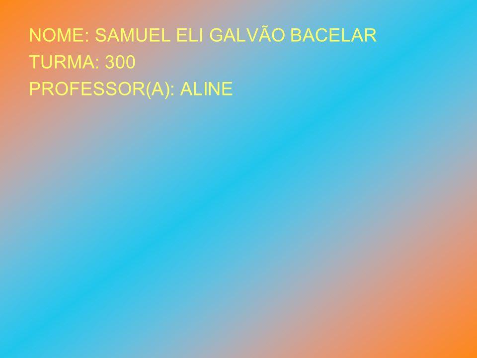 NOME: SAMUEL ELI GALVÃO BACELAR TURMA: 300 PROFESSOR(A): ALINE