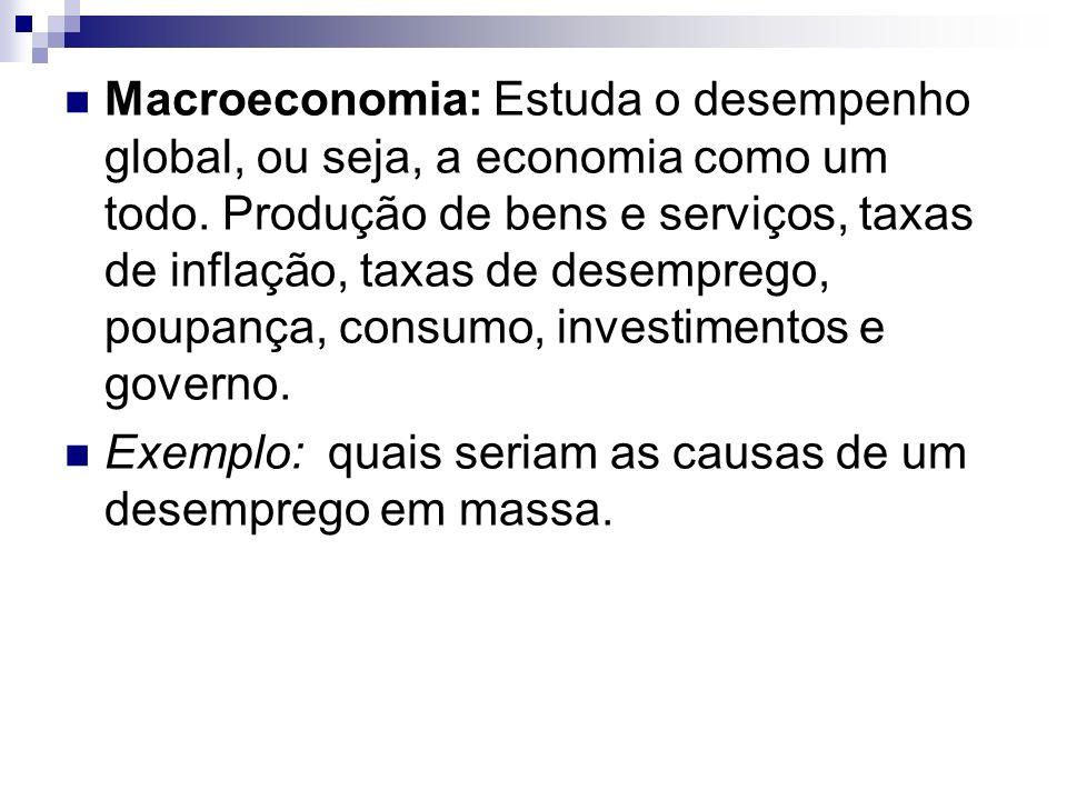 Macroeconomia: Estuda o desempenho global, ou seja, a economia como um todo. Produção de bens e serviços, taxas de inflação, taxas de desemprego, poup