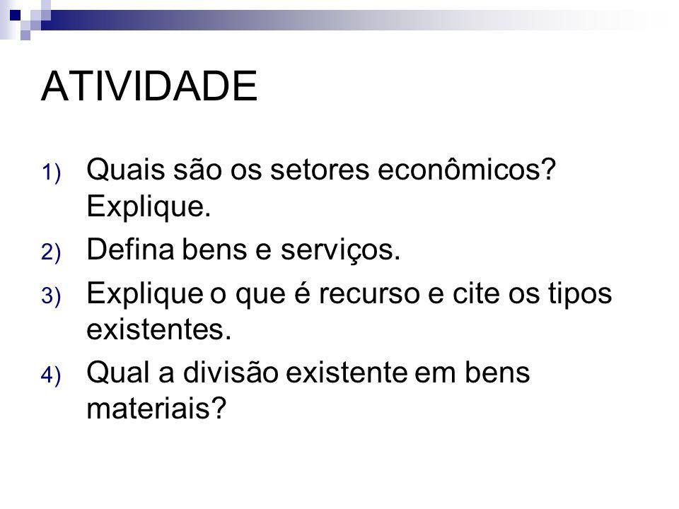 ATIVIDADE 1) Quais são os setores econômicos? Explique. 2) Defina bens e serviços. 3) Explique o que é recurso e cite os tipos existentes. 4) Qual a d