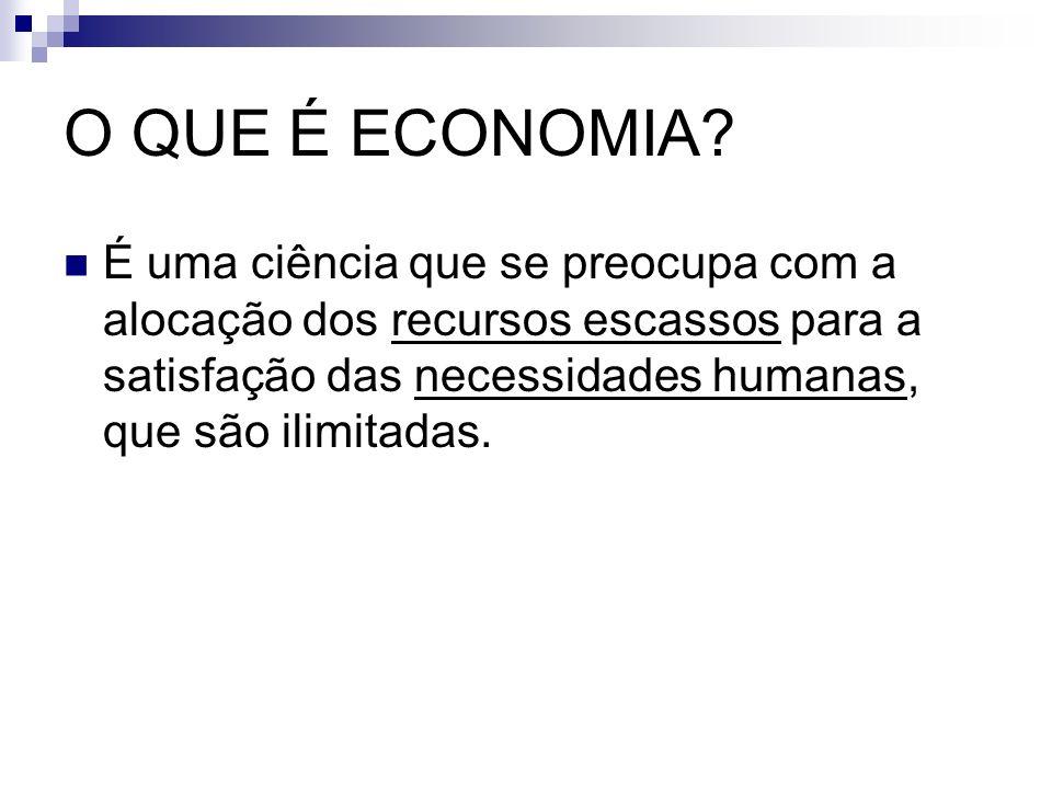O QUE É ECONOMIA? É uma ciência que se preocupa com a alocação dos recursos escassos para a satisfação das necessidades humanas, que são ilimitadas.