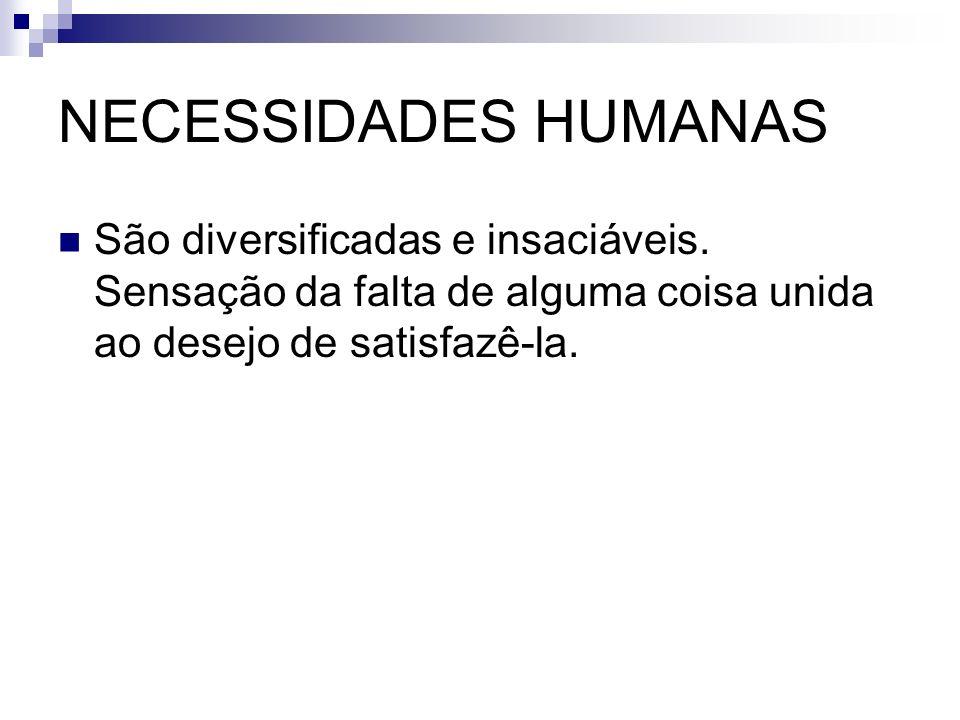NECESSIDADES HUMANAS São diversificadas e insaciáveis. Sensação da falta de alguma coisa unida ao desejo de satisfazê-la.