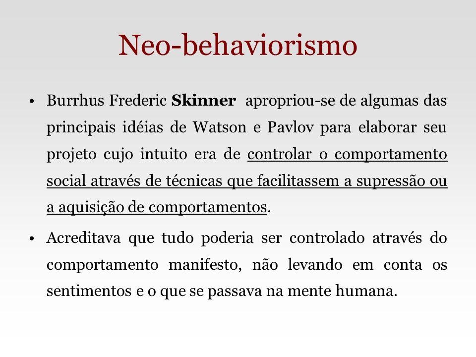 Neo-behaviorismo – Principais Idéias Comportamento operante Reforço: positivo ou negativo Extinção e Punição Modelagem Máquina de ensinar