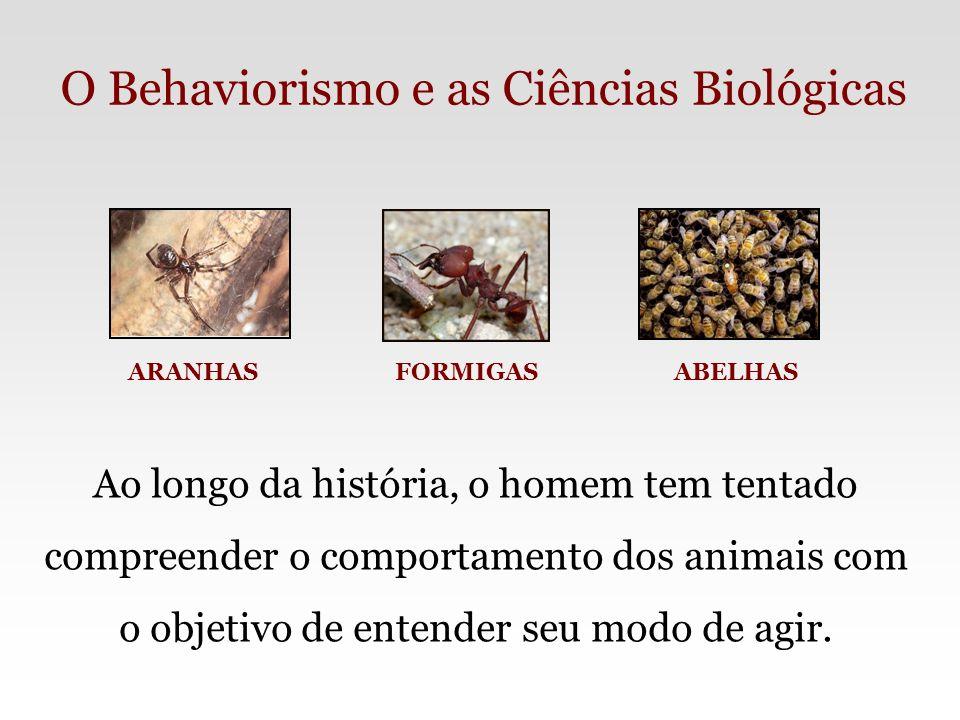 O Behaviorismo e as Ciências Biológicas ARANHAS FORMIGAS ABELHAS Ao longo da história, o homem tem tentado compreender o comportamento dos animais com