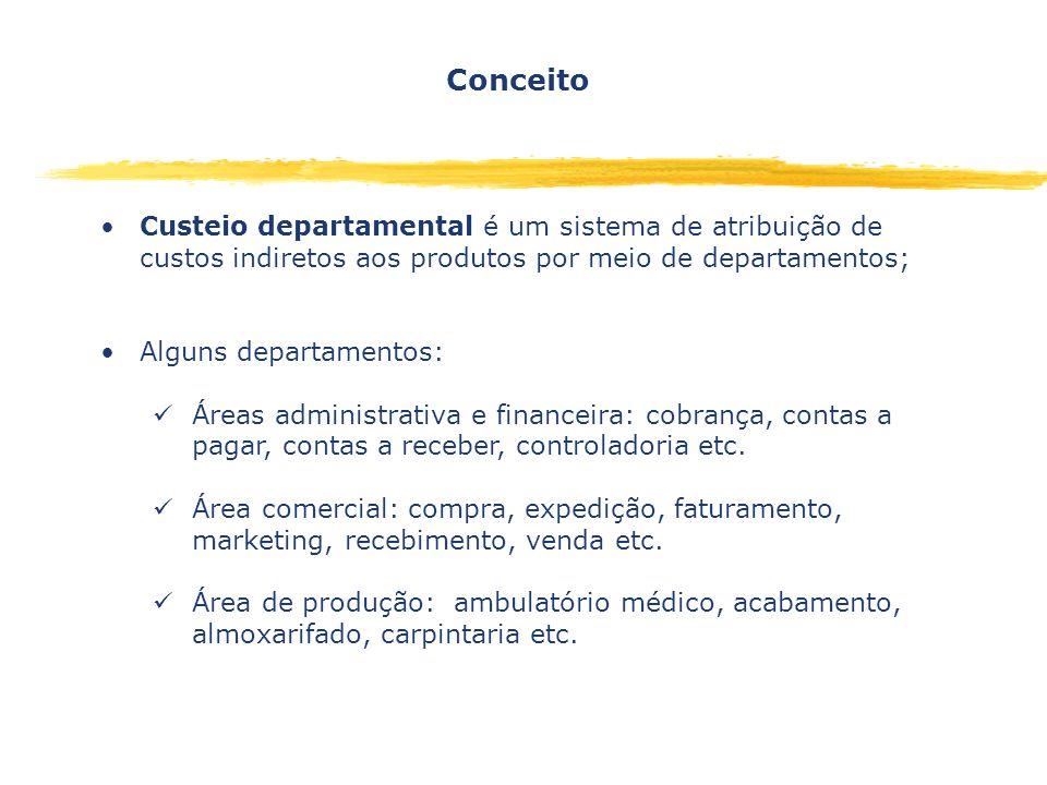 Custeio departamental é um sistema de atribuição de custos indiretos aos produtos por meio de departamentos; Alguns departamentos: Áreas administrativ