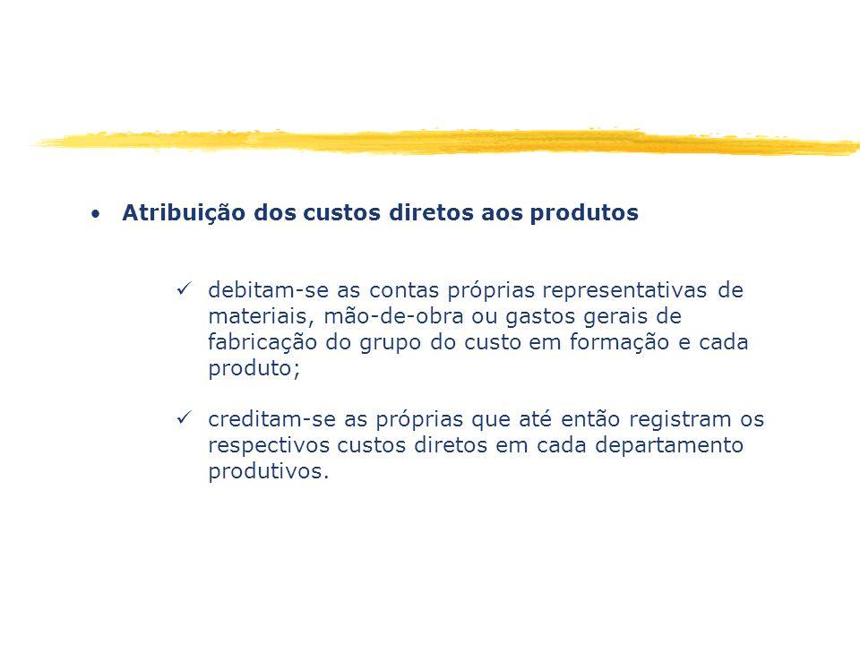 Atribuição dos custos diretos aos produtos debitam-se as contas próprias representativas de materiais, mão-de-obra ou gastos gerais de fabricação do g