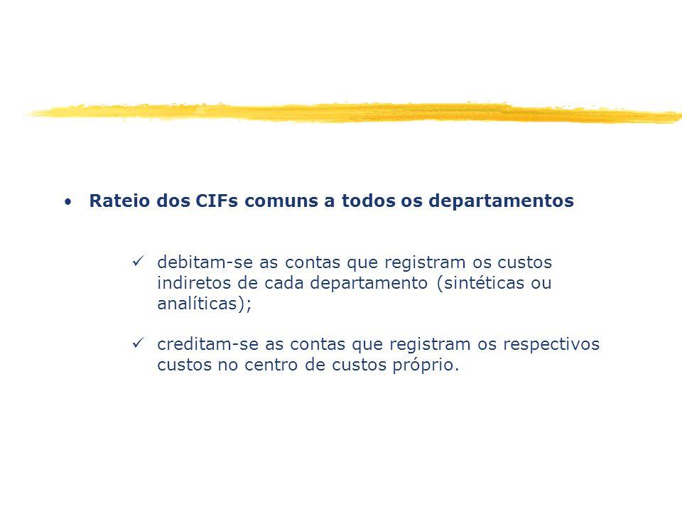 Rateio dos CIFs comuns a todos os departamentos debitam-se as contas que registram os custos indiretos de cada departamento (sintéticas ou analíticas)