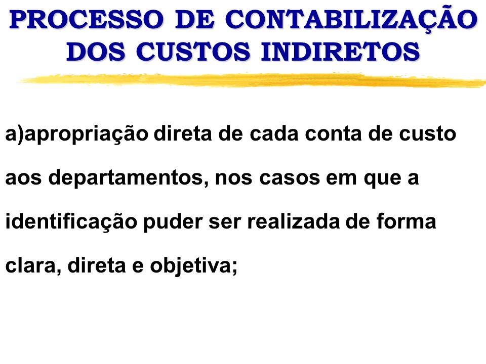 PROCESSO DE CONTABILIZAÇÃO DOS CUSTOS INDIRETOS a)apropriação direta de cada conta de custo aos departamentos, nos casos em que a identificação puder