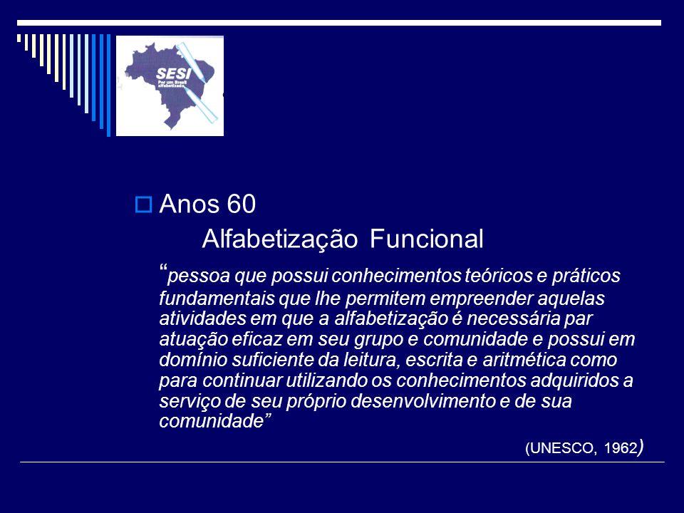 Anos 60 Alfabetização Funcional pessoa que possui conhecimentos teóricos e práticos fundamentais que lhe permitem empreender aquelas atividades em que