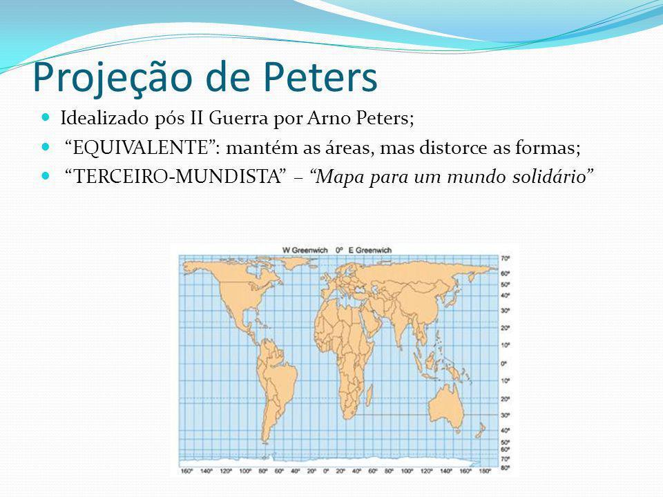 Projeção de Peters Idealizado pós II Guerra por Arno Peters; EQUIVALENTE: mantém as áreas, mas distorce as formas; TERCEIRO-MUNDISTA – Mapa para um mu