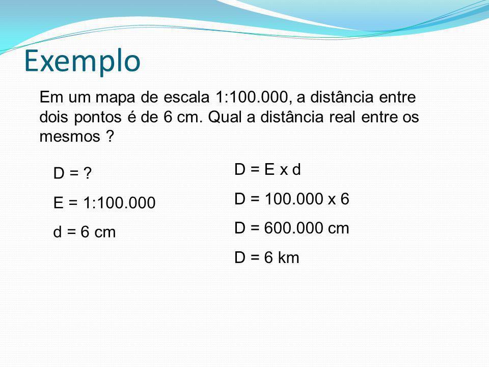 Exemplo Em um mapa de escala 1:100.000, a distância entre dois pontos é de 6 cm. Qual a distância real entre os mesmos ? D = ? E = 1:100.000 d = 6 cm