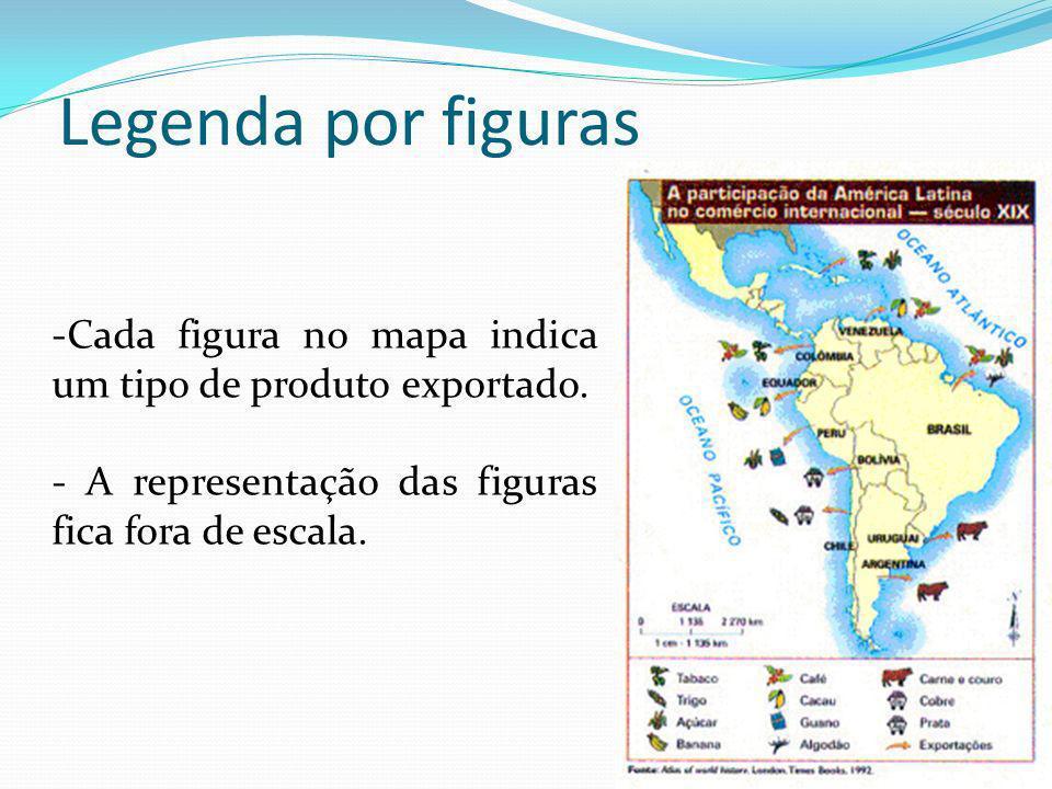 Legenda por figuras -Cada figura no mapa indica um tipo de produto exportado. - A representação das figuras fica fora de escala.