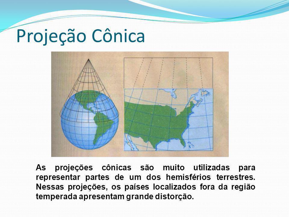 Projeção Cônica As projeções cônicas são muito utilizadas para representar partes de um dos hemisférios terrestres. Nessas projeções, os países locali