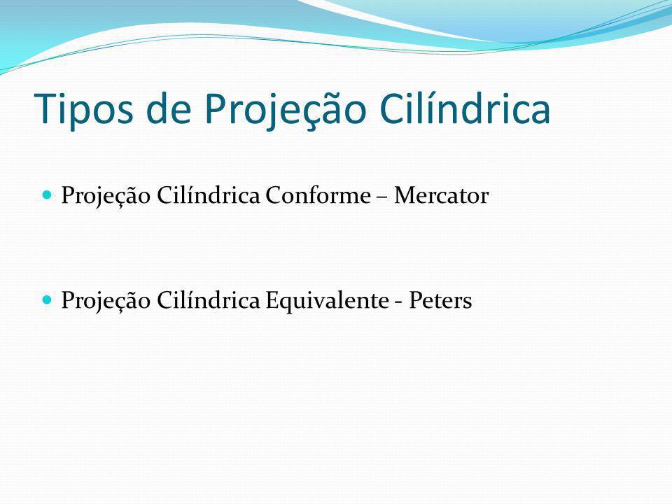 Tipos de Projeção Cilíndrica Projeção Cilíndrica Conforme – Mercator Projeção Cilíndrica Equivalente - Peters