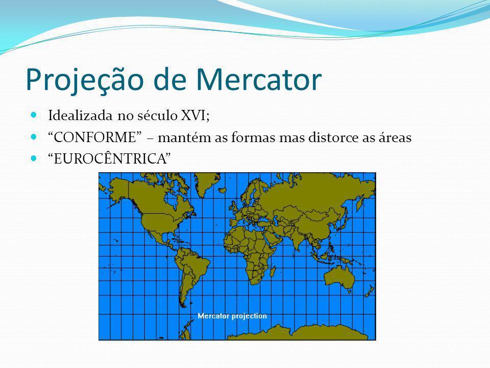 Projeção de Mercator Idealizada no século XVI; CONFORME – mantém as formas mas distorce as áreas EUROCÊNTRICA
