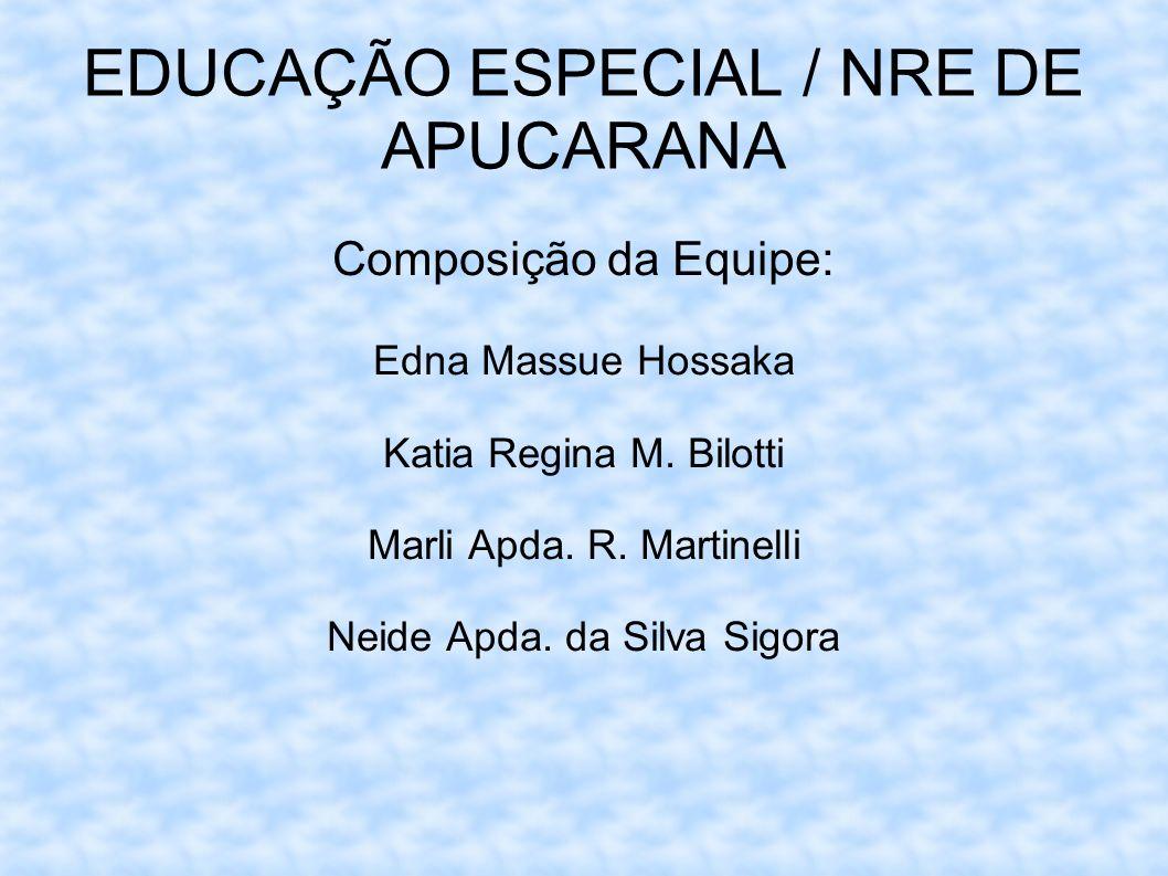 EDUCAÇÃO ESPECIAL / NRE DE APUCARANA Composição da Equipe: Edna Massue Hossaka Katia Regina M. Bilotti Marli Apda. R. Martinelli Neide Apda. da Silva