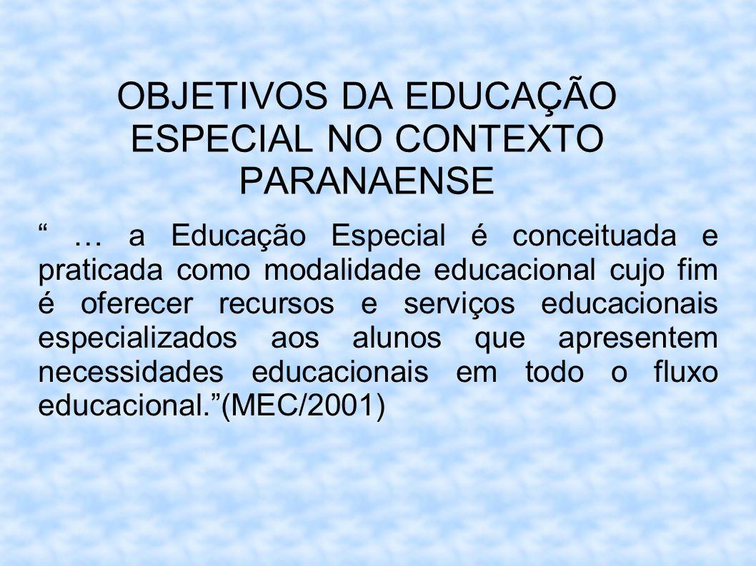 OBJETIVOS DA EDUCAÇÃO ESPECIAL NO CONTEXTO PARANAENSE … a Educação Especial é conceituada e praticada como modalidade educacional cujo fim é oferecer