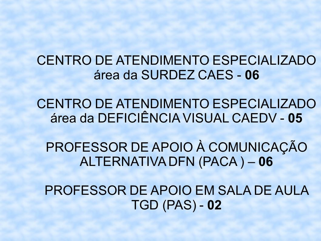 CENTRO DE ATENDIMENTO ESPECIALIZADO área da SURDEZ CAES - 06 CENTRO DE ATENDIMENTO ESPECIALIZADO área da DEFICIÊNCIA VISUAL CAEDV - 05 PROFESSOR DE AP
