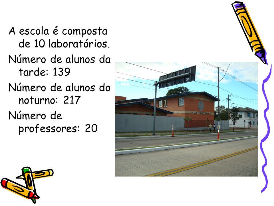 A escola é composta de 10 laboratórios. Número de alunos da tarde: 139 Número de alunos do noturno: 217 Número de professores: 20