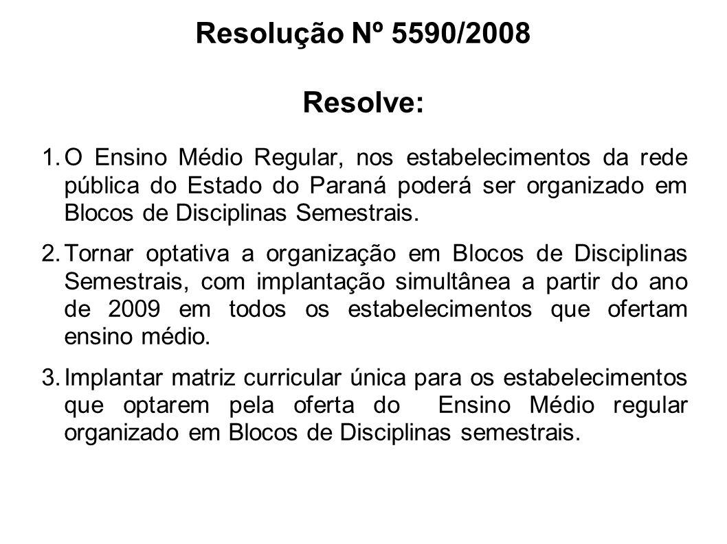 Resolução Nº 5590/2008 Resolve: O Ensino Médio Regular, nos estabelecimentos da rede pública do Estado do Paraná poderá ser organizado em Blocos de Disciplinas Semestrais.