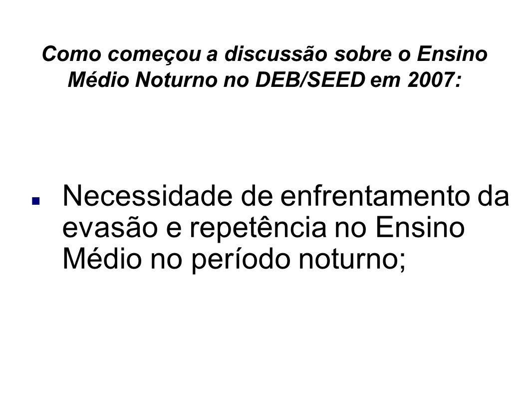 Como começou a discussão sobre o Ensino Médio Noturno no DEB/SEED em 2007: Necessidade de enfrentamento da evasão e repetência no Ensino Médio no período noturno;