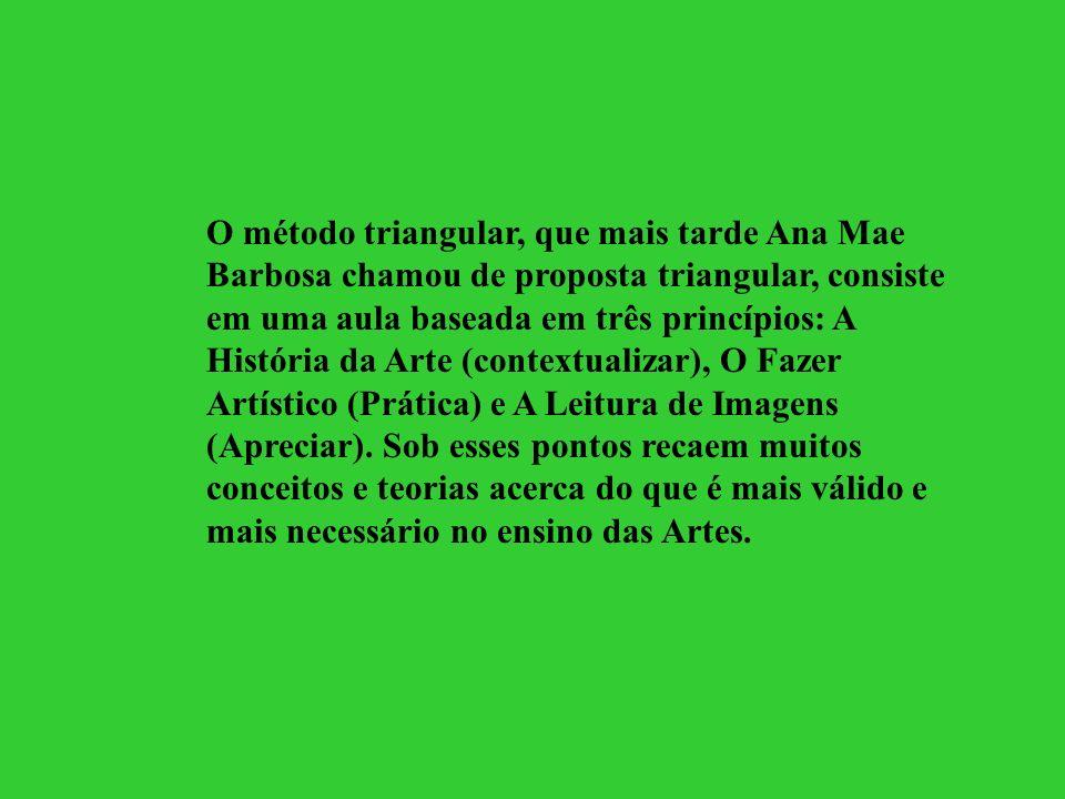 O método triangular, que mais tarde Ana Mae Barbosa chamou de proposta triangular, consiste em uma aula baseada em três princípios: A História da Arte
