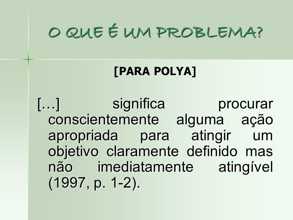O QUE É UM PROBLEMA? [PARA POLYA] […] significa procurar conscientemente alguma ação apropriada para atingir um objetivo claramente definido mas não i
