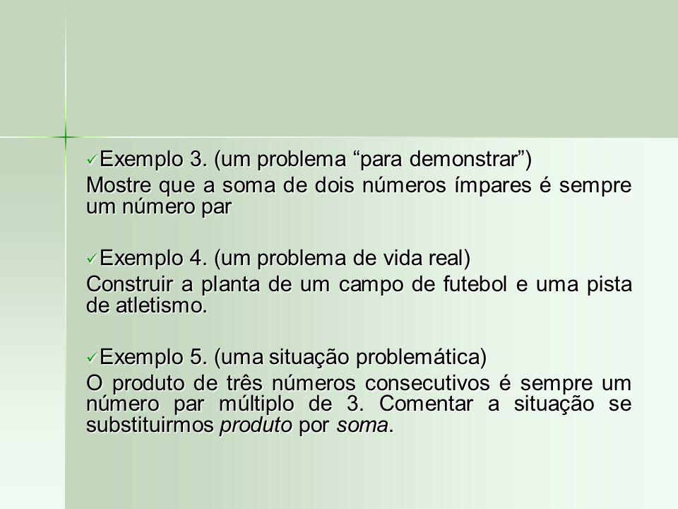 Exemplo 3. (um problema para demonstrar) Exemplo 3. (um problema para demonstrar) Mostre que a soma de dois números ímpares é sempre um número par Exe