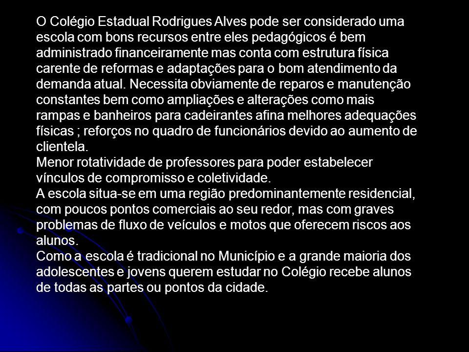 O Colégio Estadual Rodrigues Alves pode ser considerado uma escola com bons recursos entre eles pedagógicos é bem administrado financeiramente mas conta com estrutura física carente de reformas e adaptações para o bom atendimento da demanda atual.