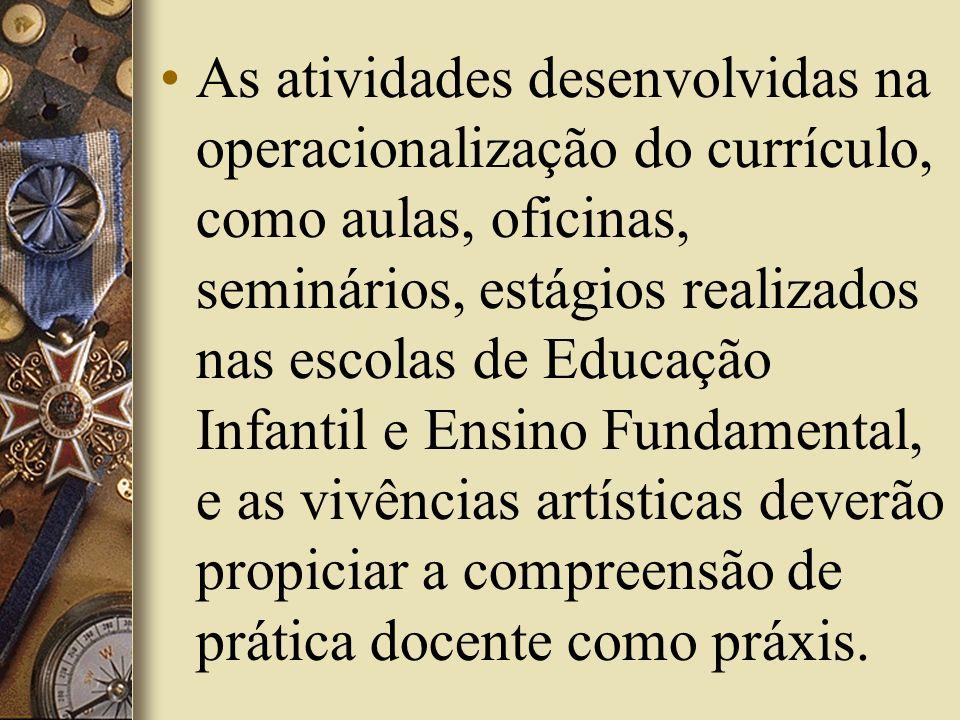 As atividades desenvolvidas na operacionalização do currículo, como aulas, oficinas, seminários, estágios realizados nas escolas de Educação Infantil