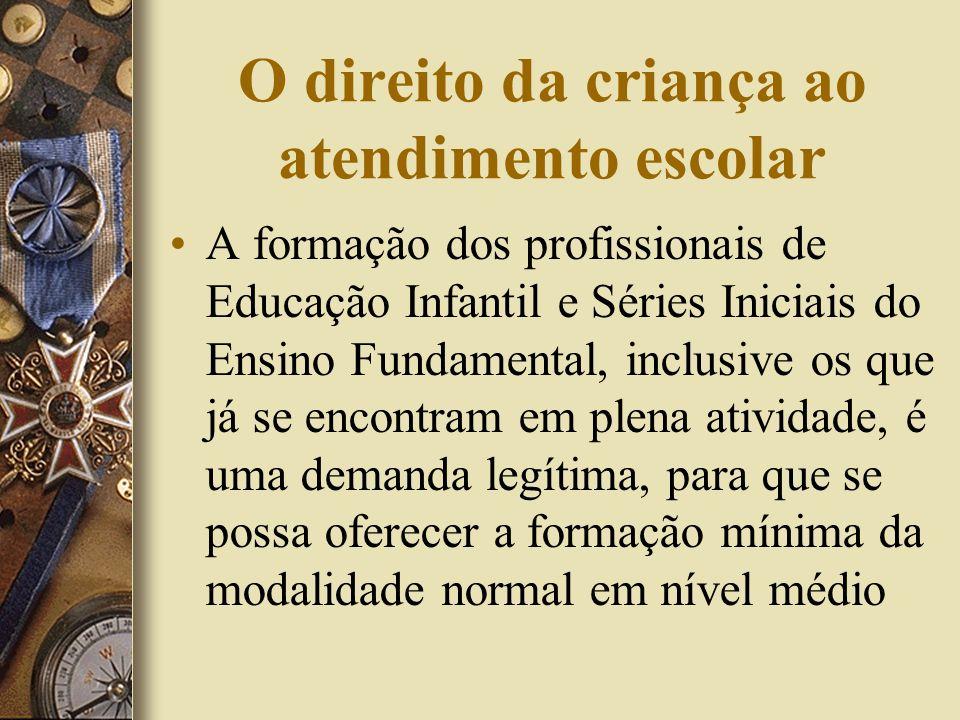 O direito da criança ao atendimento escolar A formação dos profissionais de Educação Infantil e Séries Iniciais do Ensino Fundamental, inclusive os qu