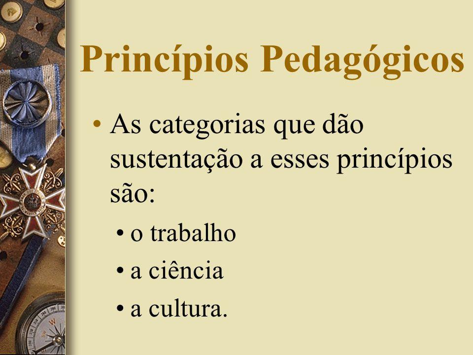 Princípios Pedagógicos As categorias que dão sustentação a esses princípios são: o trabalho a ciência a cultura.