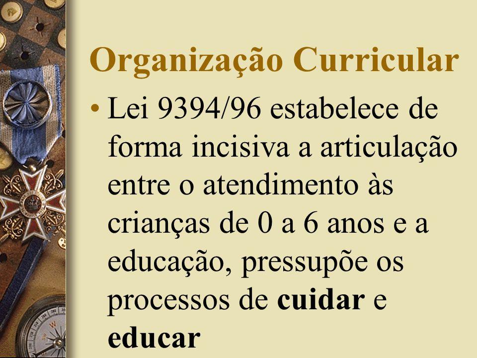 Organização Curricular Lei 9394/96 estabelece de forma incisiva a articulação entre o atendimento às crianças de 0 a 6 anos e a educação, pressupõe os