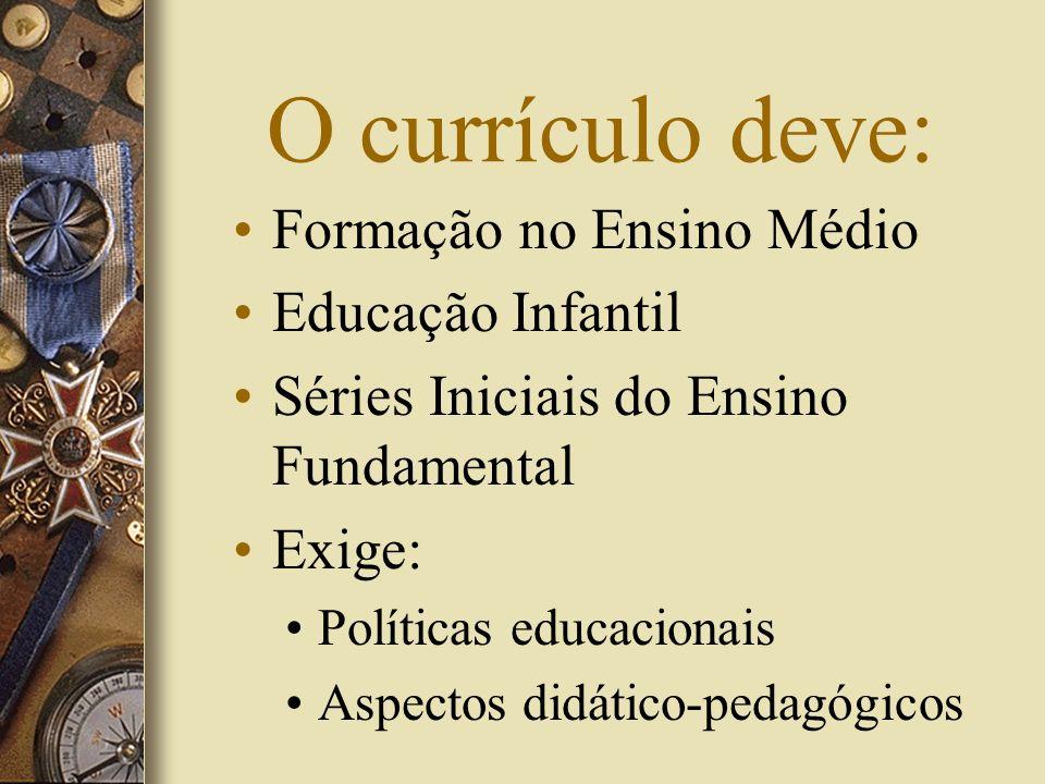 O currículo deve: Formação no Ensino Médio Educação Infantil Séries Iniciais do Ensino Fundamental Exige: Políticas educacionais Aspectos didático-ped