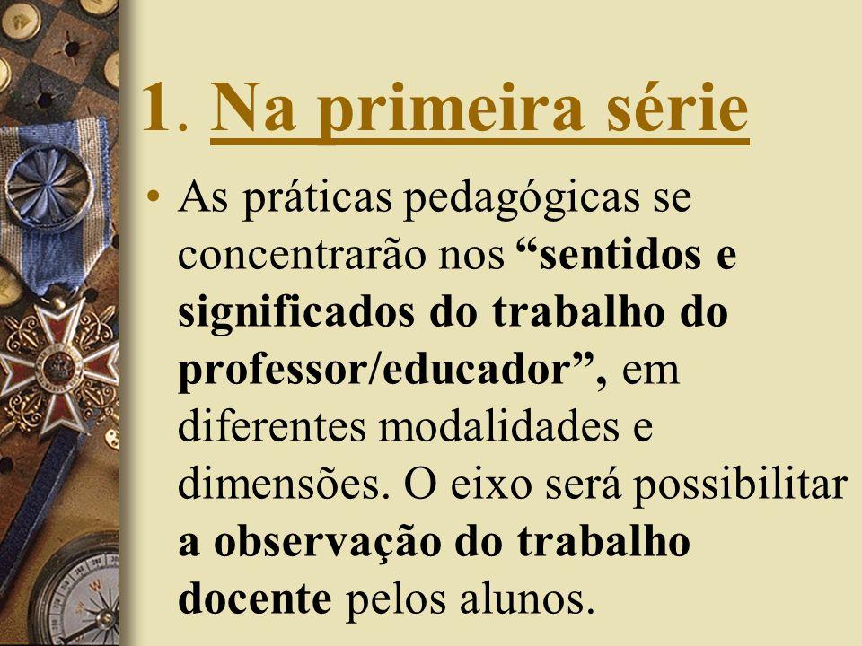 1. Na primeira série As práticas pedagógicas se concentrarão nos sentidos e significados do trabalho do professor/educador, em diferentes modalidades