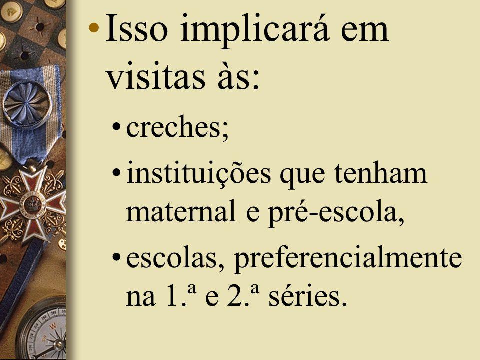 Isso implicará em visitas às: creches; instituições que tenham maternal e pré-escola, escolas, preferencialmente na 1.ª e 2.ª séries.