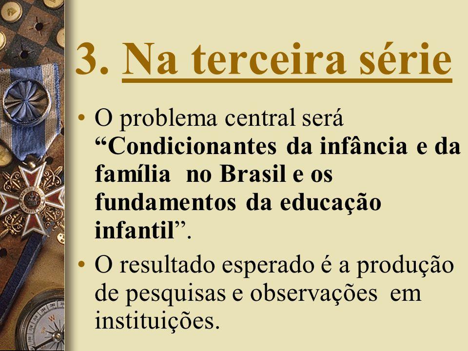 3. Na terceira série O problema central será Condicionantes da infância e da família no Brasil e os fundamentos da educação infantil. O resultado espe