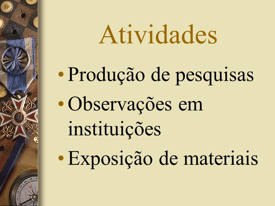 Atividades Produção de pesquisas Observações em instituições Exposição de materiais