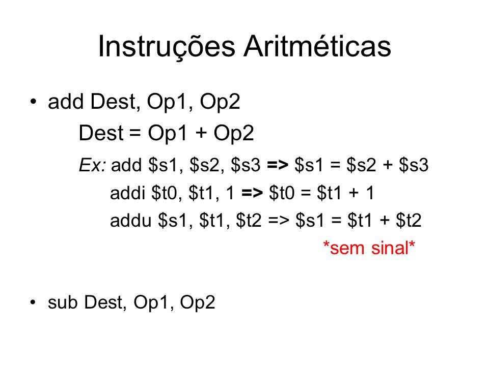 Instruções Aritméticas add Dest, Op1, Op2 Dest = Op1 + Op2 Ex: add $s1, $s2, $s3 => $s1 = $s2 + $s3 addi $t0, $t1, 1 => $t0 = $t1 + 1 addu $s1, $t1, $