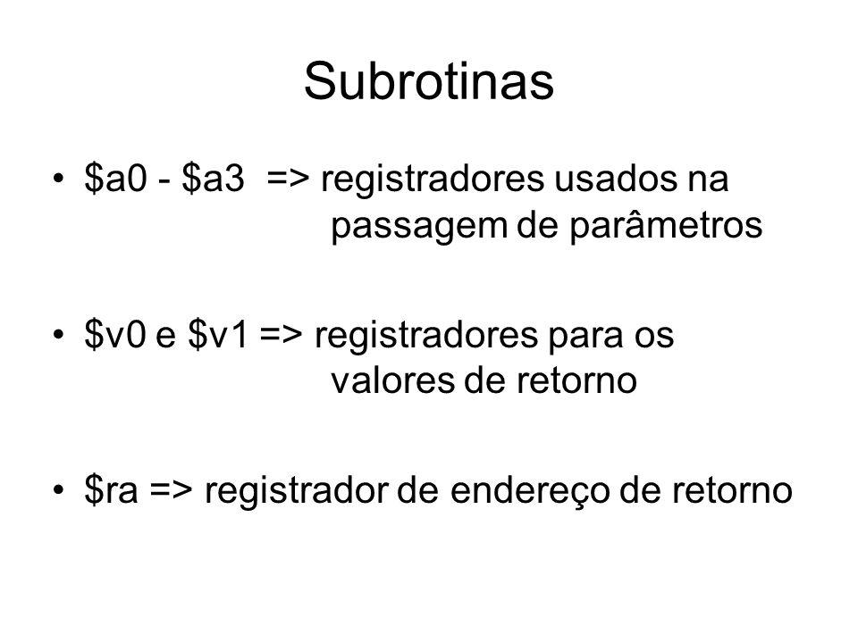 Subrotinas $a0 - $a3 => registradores usados na passagem de parâmetros $v0 e $v1 => registradores para os valores de retorno $ra => registrador de end