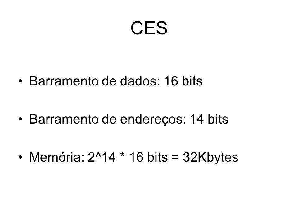 CES Barramento de dados: 16 bits Barramento de endereços: 14 bits Memória: 2^14 * 16 bits = 32Kbytes
