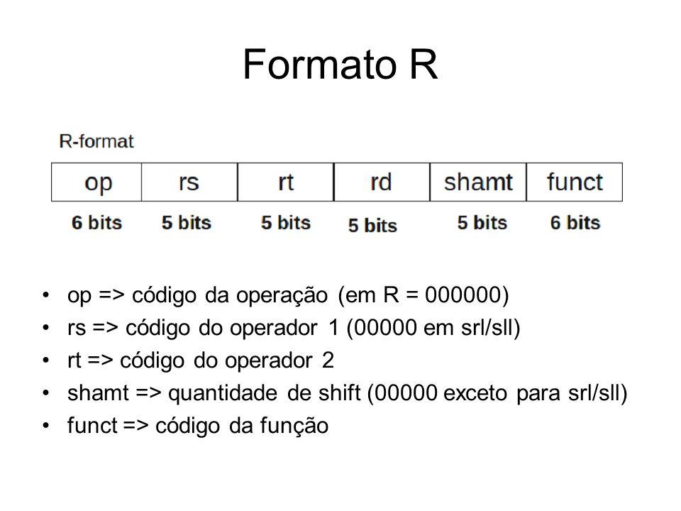 Formato R op => código da operação (em R = 000000) rs => código do operador 1 (00000 em srl/sll) rt => código do operador 2 shamt => quantidade de shi