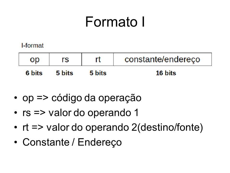 Formato I op => código da operação rs => valor do operando 1 rt => valor do operando 2(destino/fonte) Constante / Endereço