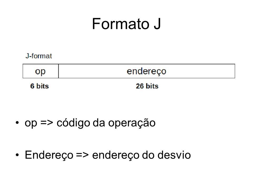 Formato J op => código da operação Endereço => endereço do desvio