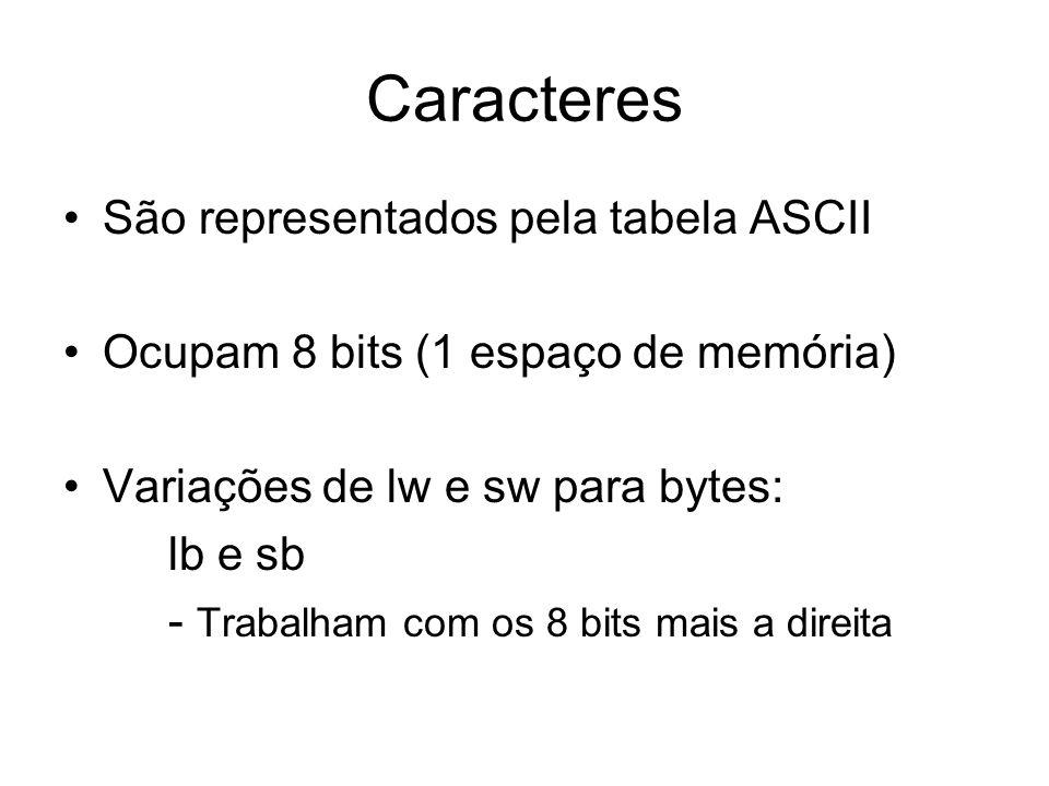 Caracteres São representados pela tabela ASCII Ocupam 8 bits (1 espaço de memória) Variações de lw e sw para bytes: lb e sb - Trabalham com os 8 bits