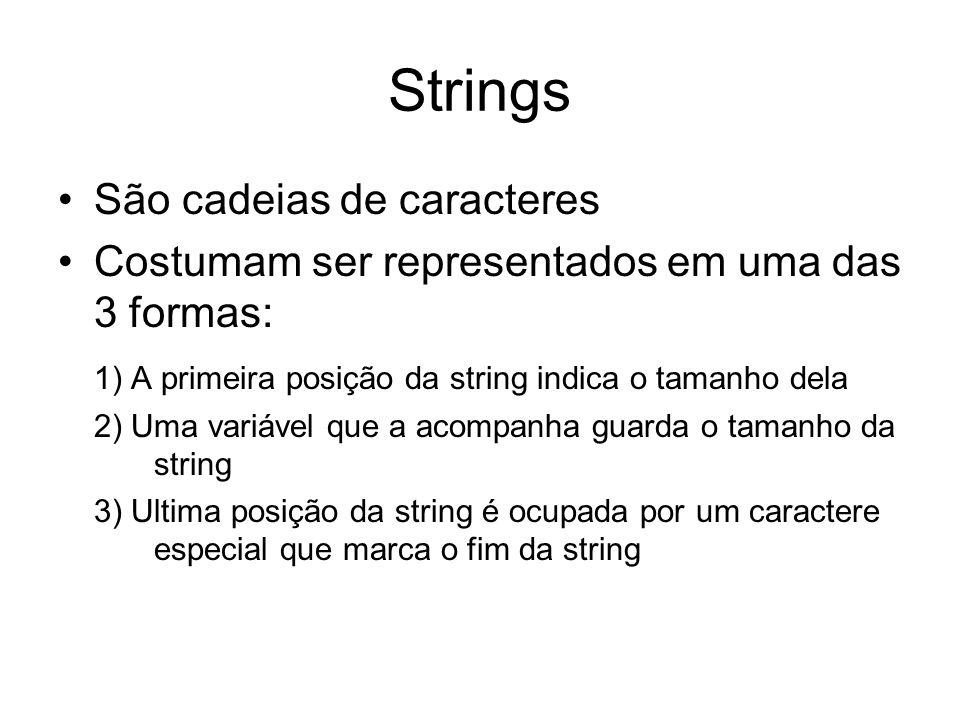 Strings São cadeias de caracteres Costumam ser representados em uma das 3 formas: 1) A primeira posição da string indica o tamanho dela 2) Uma variáve