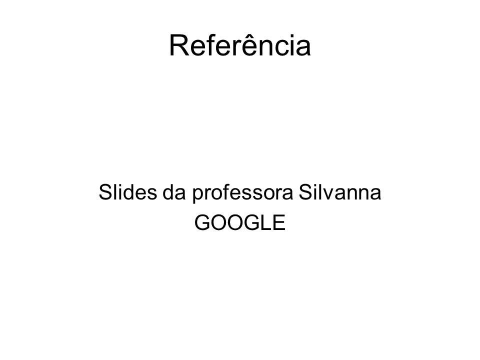 Referência Slides da professora Silvanna GOOGLE