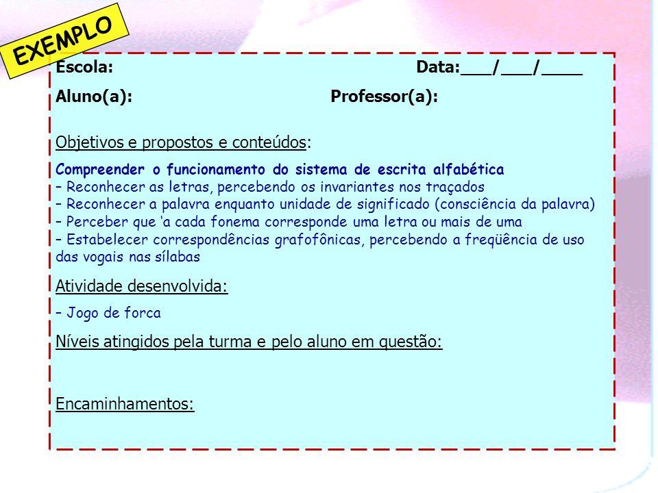 INSTRUMENTOS DE REGISTRO Fontes de informação sobre o processo de aprendizagem dos alunos 1)Observação e registro Conhecimentos prévios Consolidação d